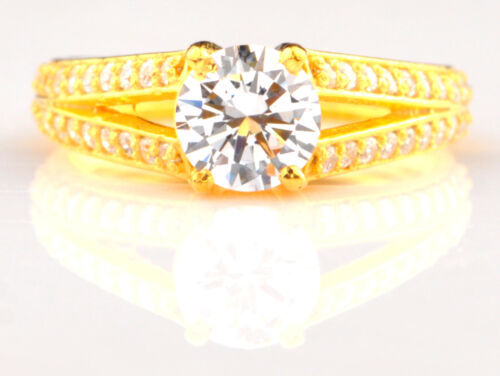 14kt Solid Yellow Gold With 2.60 Carat Round Shape Solitaire Engagement Ring