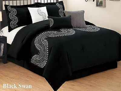 7 PC Black & White Embroidered Microfiber Comforter Set Full and Queen King (King Size Black And White Bedding Set)