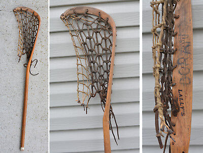 a761af16602 LALLY'S XXX Cornwall 42 x 9 LACROSSE STICK Indian Mohawk Wood Leather Gut  1930s