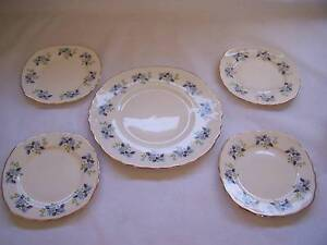 Royal Vale  Blue Floral Cake Plate & Side Plate x 4 CAN POST Wynyard Waratah Area Preview