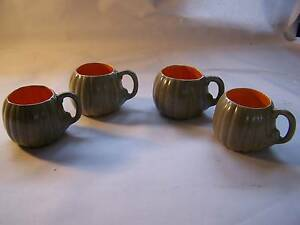 Retro  1970's Pumpkin Shaped Cup x 4 Cups WILL POST Wynyard Waratah Area Preview