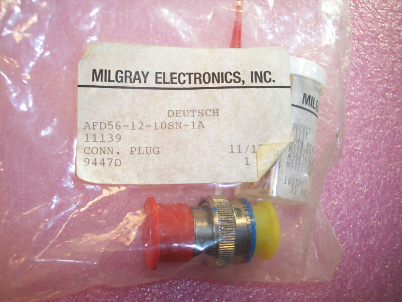 QTY (1) AFD56-12-10SN-1A DEUTSCH PLUG CONNECTOR WITH CONTACTS AND INSERTION TOOL
