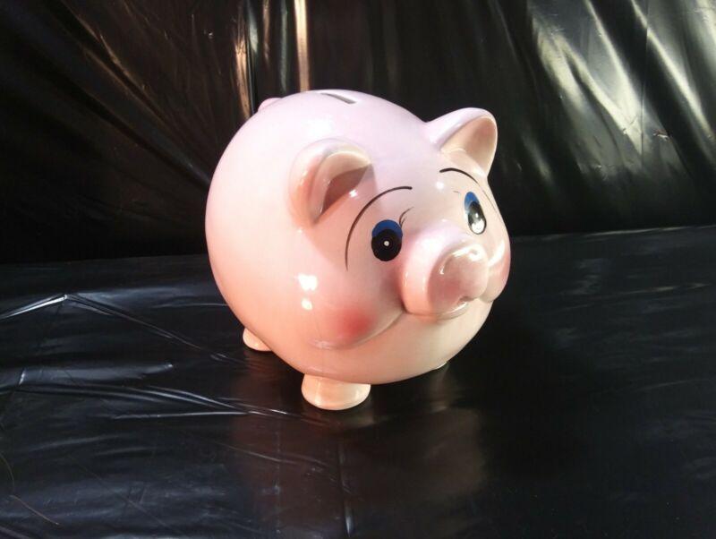 Vintage Mid Century MCM Ceramic Pink Pig Piggy Bank Fat Belly Cheeks Cute