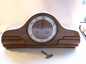 Large Mantle Clock & Key WILL POST Art Deco Style Wynyard Waratah Area Preview