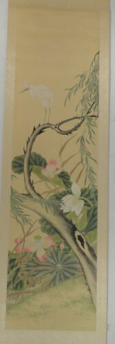 Antique VIntage Japanese Scroll Painting Egret and Lotus Flowers Unsigned