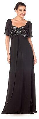 Abendkleid Ärmel Kurzarm Empirekleid große Größen Brautmutter schwarz Gr.46