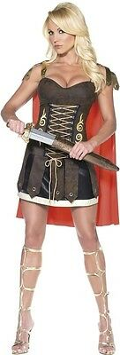 Womens Sexy Gladiator Costume Medieval Brown Gold Red Fancy Dress Cap Adult NEW