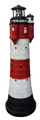 Leuchtturm Roter Sand m. Solar Beleuchtung Rundum Leuchtfeuer 80cm Maritime Deko