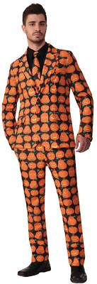 Morris Costumes Men's New Pumpkin Halloween Adult Suit Black Orange XL. FM73805