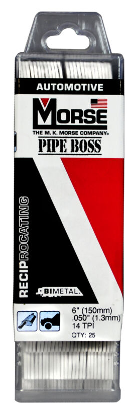 """MORSE Pipe Boss Reciprocating Saw Blade 6"""" x 1"""" 14TPI RBPB65014T25 (25 pack)"""