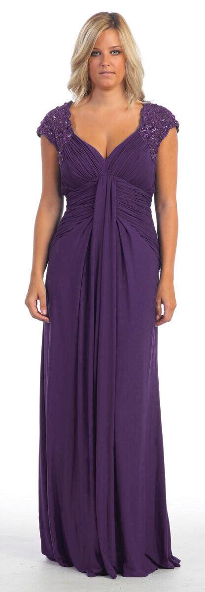 Abendkleid Brautmutterkleid Brautjungfernkleid Stretch aubergine große Größen