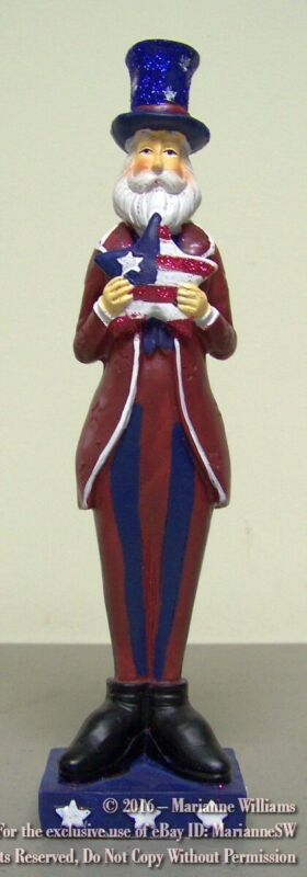 NEW FOURTH 4th OF JULY UNCLE SAM FIGURE HOLDING RED WHITE BLUE PATRIOTIC STAR