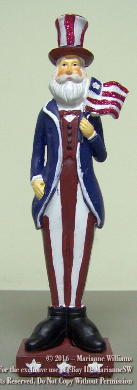 NEW  FOURTH 4th OF JULY UNCLE SAM FIGURE HOLDS PATRIOTIC FLAG RED WHITE & BLUE