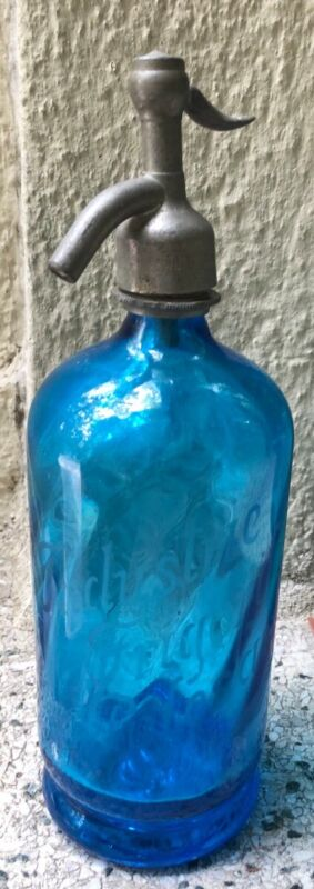 ANTIQUE SELTZER BOTTLE BLUE INDUSTRIE FRIGORIFERE POLESANE