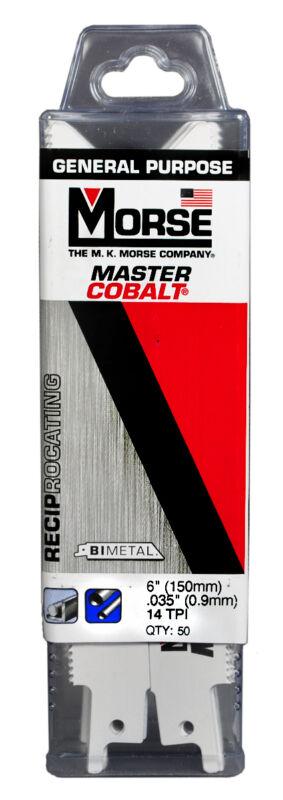 """MK MORSE Master Cobalt Reciprocating Saw Blade 6""""x3/4"""" 14TPI RB614T50 (50 pack)"""