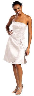 Brautkleid kurz Standesamtkleid Strand-Hochzeit creme Satin große Größen Gr.46
