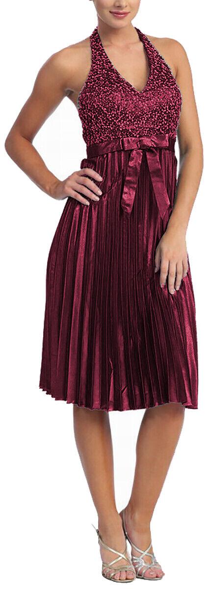 Cocktailkleid Abendkleid kurz Brautmutterkleid Pailletten Empire-Stil Gr.50 5XL