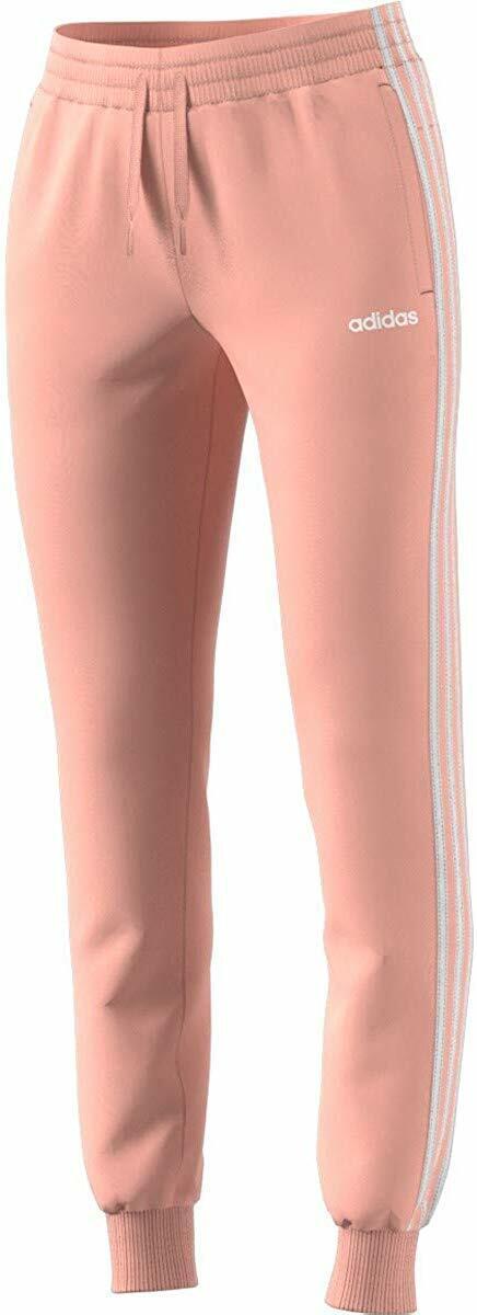 Adidas Glow Pink/White Essentials 3-Stripes Fleece Pants