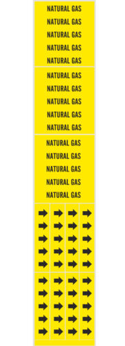 NATURAL GAS Stickers Warning Markers & Direction Arrow Bands BRADY 93340 7196-3C