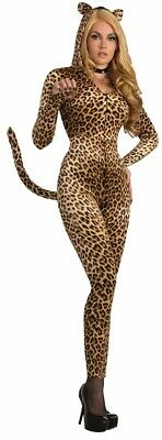 Sexy Cat Kitty Sly Leopard Adult Womens Costume Jumpsuit With Hood And Tail