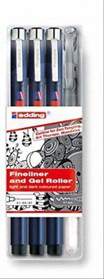 Edding Tangle Outline 4er Set Fineliner Gelroller Zentangle schwarz handletterin