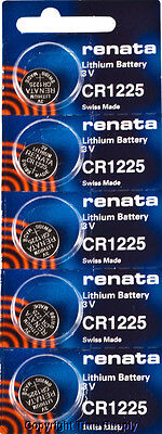 5 pc CR 1225 Renata Lithium Watch Batteries FREE SHIP