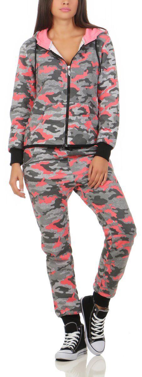 10546 Damen Jogginganzug Jacke Hose Sportanzug Fitness Trainingsanzug Camouflage