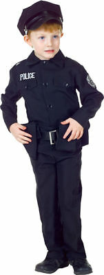 Morris Costumes Boys Police Man Complete Outfit Black 10-12. UR25912LG