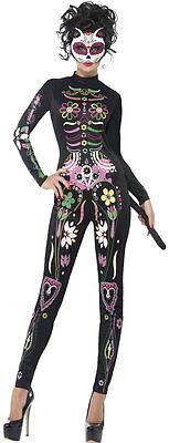 Sugar Skull Katzenkostüm NEU - Damen Karneval Fasching - Sugar Skull Kostüm