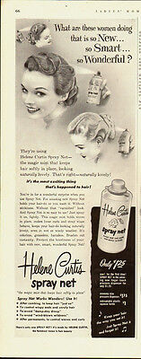 1952 Vintage ad for Helene Curtis spray net /50's Hair Styles/Pin Curls (071413) - Hair Styles For 50s