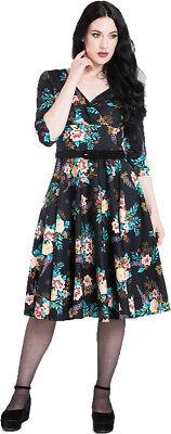 Hell Bunny BLUE BELL Vintage FLORAL Blumen Flower Swing Dress KLEID Rockabilly