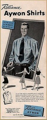 1940s Men's Shirts, Sweaters, Vests 1940's Reliance Men's Fashion Shirt Aywon Print Ad $12.99 AT vintagedancer.com