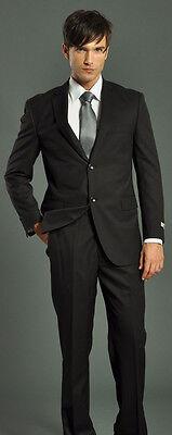 CLASSIC BLACK SOLID MENS SUIT 4 FUNERAL GRADUATION PROM OFFICE BUSINESS BEST