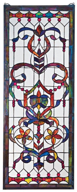 4 FOOT EUROPEAN ANTIQUE STYLE MANOR ESTATE STAINED GLASS WINDOW PANEL AUTHENTIC