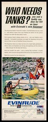 1967 Evinrude Aquanaut diving diver air compressor photo vintage print ad