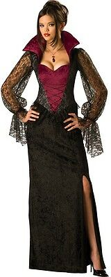 Ladies Long Lace Vampire Halloween Fancy Dress Costume Outfit UK 8-26 Plus Size (Halloween Fancy Dress Plus Size Uk)