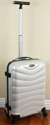 "Samsonite Firelite 20"" Off White Carry on Luggage 4-wheeled 49957-1627 Demo"
