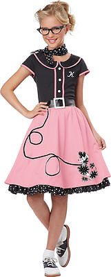 50's Sweetheart Costume for Girls w/Monograms from California Costumes - 50s Girls Costumes