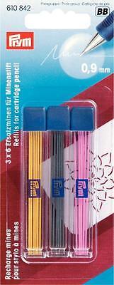 Prym Minenstift Ersatzminen grau pink gelb 0,9mm extra fein 3 x 6 Stück 610842 (Stift-ersatz)