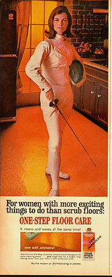 1967 Vintage ad for One Step Floor Care/Sexy Model/60
