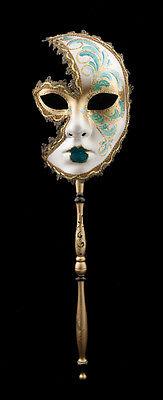 Mask Venetian in Stick Moon Anna Carnival Evening Ballgown Venice Green 1556