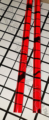 2 Pc Red Translucent Clear 12 Diameter 12 Inch Long Acrylic Lucite Color Rod