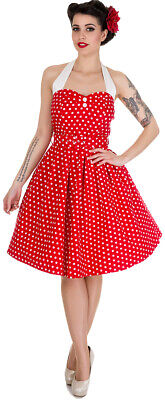 Rot Polka Dot Baumwolle Kleid (Dolly and Dotty SOPHIE Vintage POLKA DOT Neckholder Swing KLEID Rot Rockabilly)