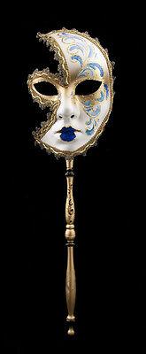 Mask Venetian in Stick Moon Anna Carnival Evening Ballgown Venice Blue 1552 VG24