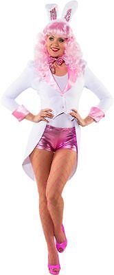 Orl - Damen Kostüm Frack weiß-rosa mit Schalkragen Karneval