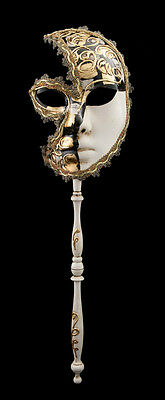 Mask Venetian in Stick Moon Musica Carnival Gala Evening Venice Black 1543 VG22