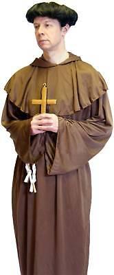 Friar Tuck Kostüm Mönch Perücke & Goldenes Kreuz Alle Größen -