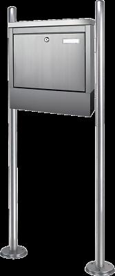 Standbriefkasten Edelstahl Postkasten mit Zeitungsfach Briefkasten freistehend N