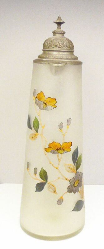 "Antique 15"" Hand Painted Frosted Blown Glass German Floral Stein Beer Pitcher"
