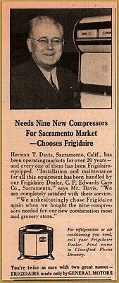 1948 Herman Davis Sacramento Market Owner Frigidaire Print Ad